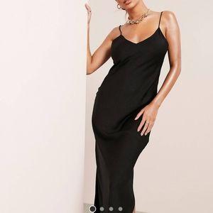 ASOS Black Satin Midi Slip Dress 0